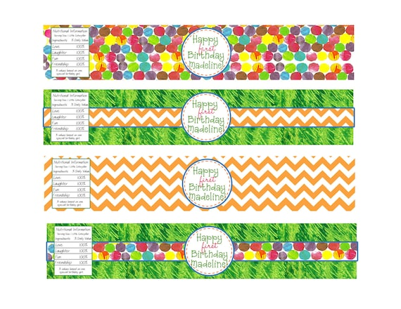 Very Hungry Caterpillar Water Bottle Labels- Printable