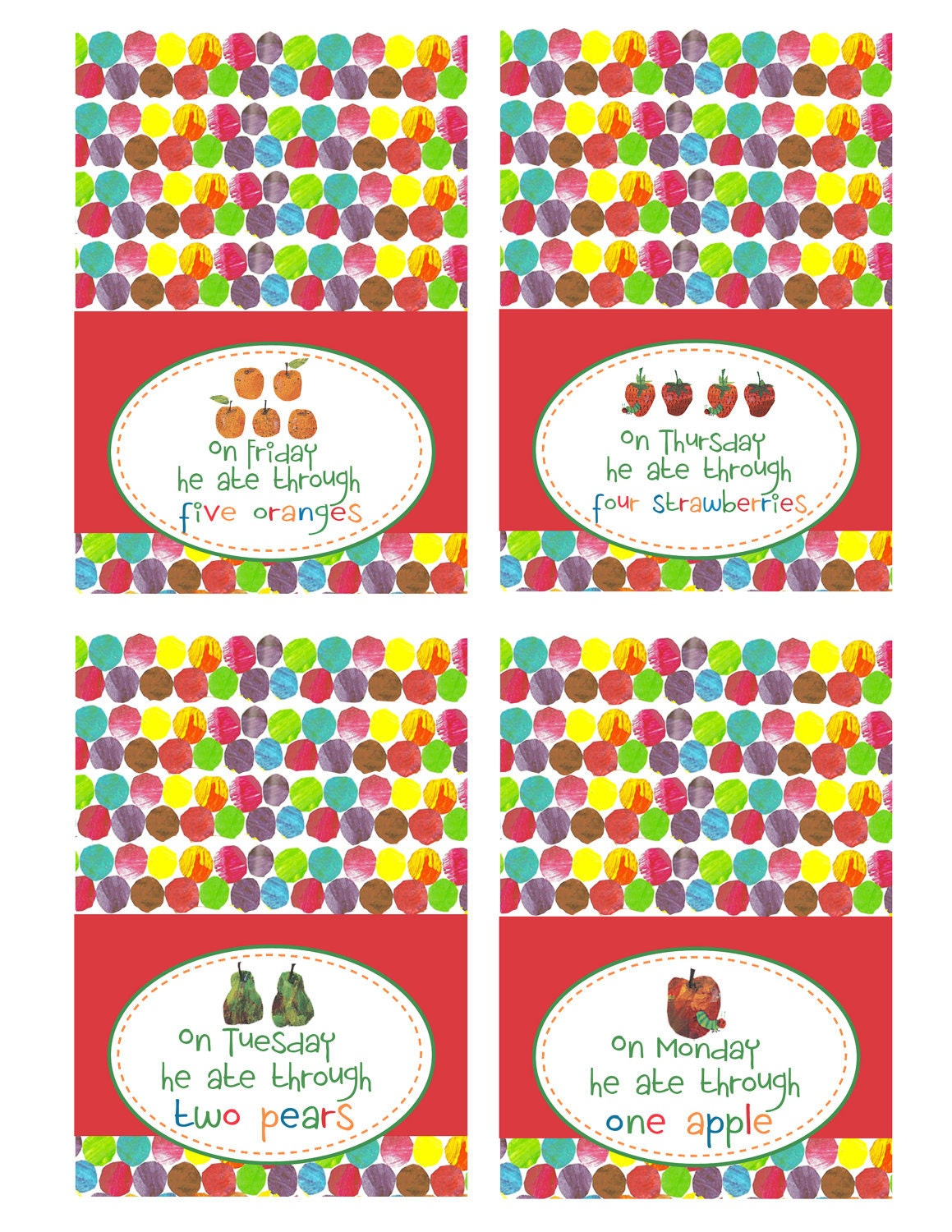 The Very Hungry Caterpillar Printable Food Tags by jenleonardini