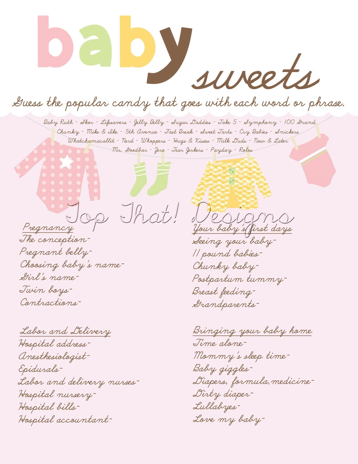 baby shower game candy instant download