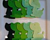 WOOL Felt Green Doggie Mix -Felt Flower Die Cut-Felt Shapes
