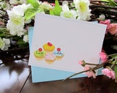 Set of 12 Birthday Greeting Cards with Cupcakes