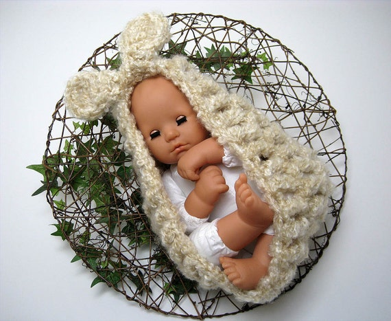 Bunny Dreams - Newborn Baby Bowl Style Cocoon Pod - - Photography Prop