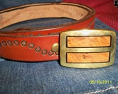 Vintage Solid Brass and Wood Inlay Belt Buckle and Signed Leather Belt