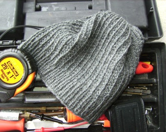 Mens Wool Hat Gray Textured - Hand Knit Womens Beanie For Winter Hiking Biking Snowboarding (Size S/M or M/L - Made to Order)