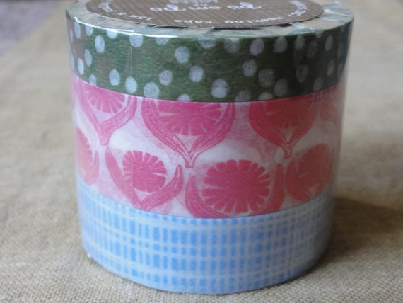 washi tapes / masking tapes - set of 3 - Lotta Jansdotter - 15m long