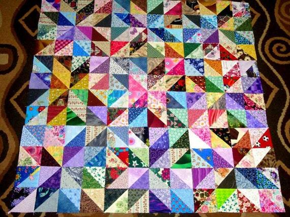 "9 13"" GORGEOUS STARS PINWHEELS Quilt Top Fabric Blocks"