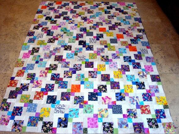 Outstanding BUTTERFLIES DRAGONFLIES GARDEN Quilt Top Bright Colors Wedding Gift