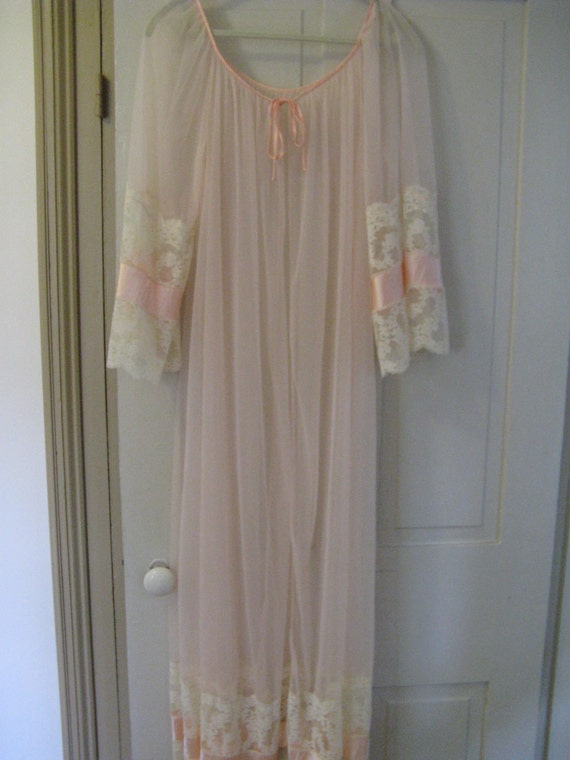 RESERVED for Ann  Peaches and Cream Sheer Peignoir Robe Large Extra Large