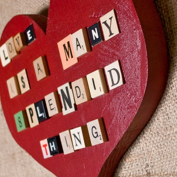 LOVE IS... Red Heart Wall Decor with Vintage Game Pieces