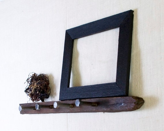 Rustic Wall Hooks - Ledge Shelf with Upcycled Industrial Hardware - Natural Wood - Vineyard