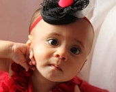 Baby Fascinator Headband or Hairclip, Hair Clip, Black Lace, White Tulle and a Red Button