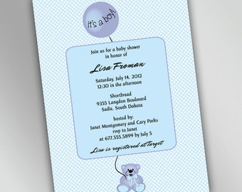 Teddy Bear Baby Shower Invitations with Round Balloon, Baby Boy, Baby Girl, Gender Neutral, Unisex, You Choose Your Color