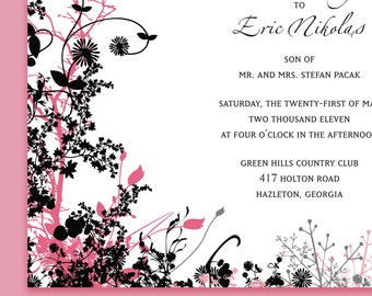 Garden Wedding Invitation Suite with Flowering Vines, Pink Black and White, Other Colors Possible. Spring Wedding, Summer Wedding