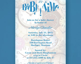 Printable Baby Shower Invitations, It's Baby Time Clocks Collage, Baby Shower Invites with Clocks, You Choose Color Accents