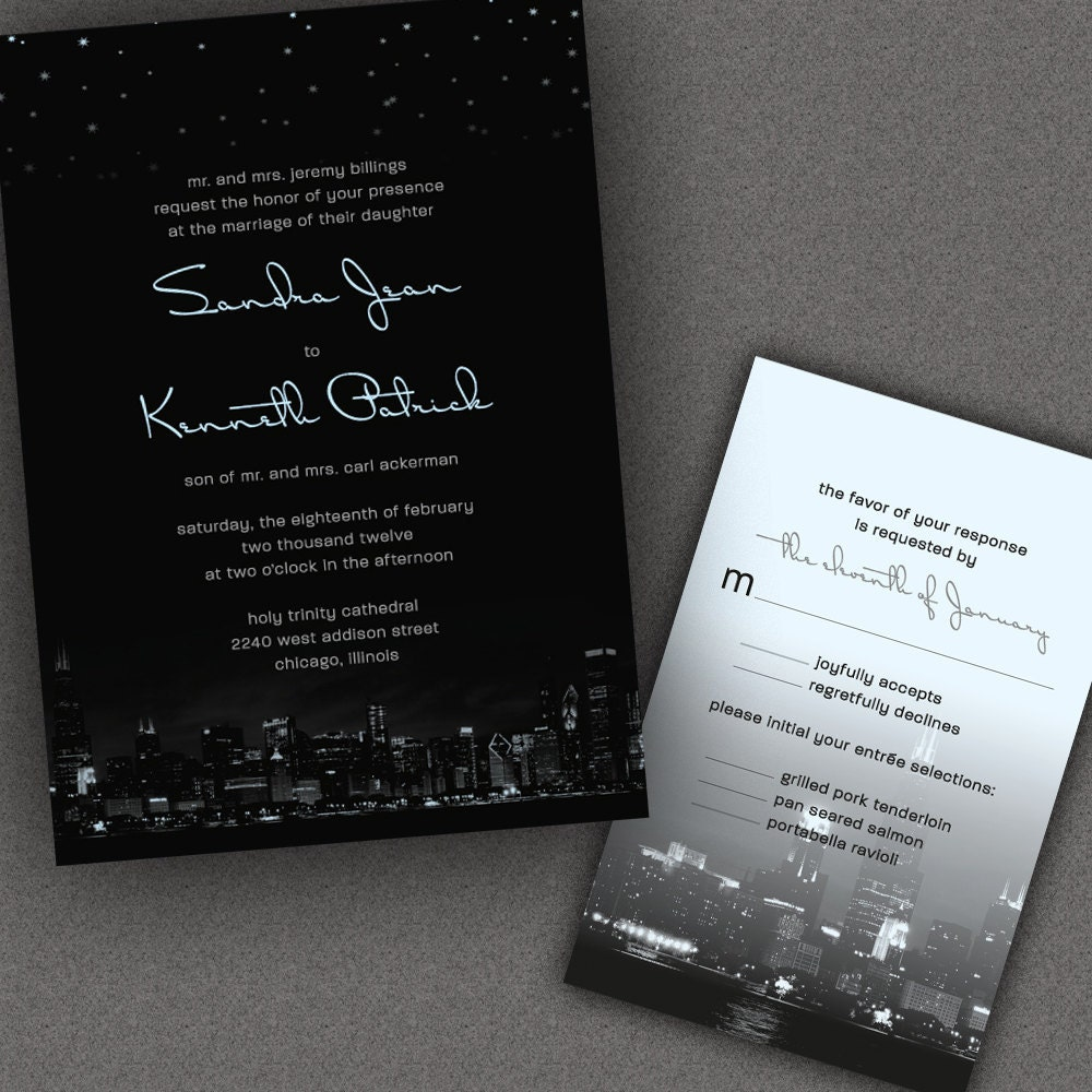 Personalized Skyline Wedding Invitations: Chicago City Skyline Wedding Invitations With Night By