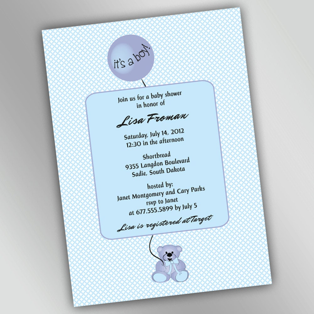 teddy bear baby shower invitations with round balloon baby