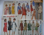Vintage Sewing Patterns Size 8, 10, 12, 14, Simplicity, Butterick, Assorted Set of 5, 1960's, 1970's
