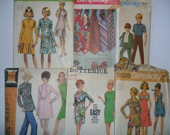 6 Vintage Sewing Patterns Size 10, 12, 14, 16, 18, 1960's, 1970's, Boys Size 6, Ties, McCall's, Simplicity, Butterick