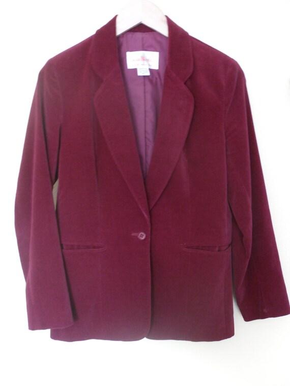 Vintage Red Velvet Womens Blazer, Jacket, Size 8, 10, 12, Large, X-Large