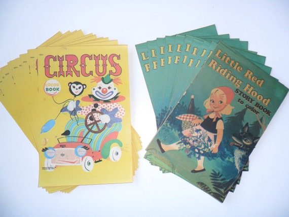 Vintage Coloring Books, 10 Little Red Riding Hood, 10 Circus, Unused, Still in Original Packaging