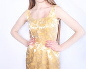 Vintage 50s 60s Brocade Party Evening Prom Wiggle Dress XS