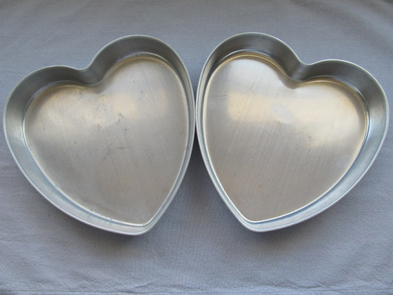 "Vintage Heart Shaped Aluminum Cake Pans Made in U.S.A  by Mirro 9"" NICE"