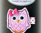Pink Felt Owl on Alligator Clip - Hair Clip - Embroidered Felt