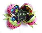 Big Loopy Boutique Rock Hairbow - Hair Clip with RockStar Felt Embellishment  - Hair Bow - Hand Sewn