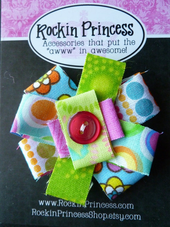Clearance SALE - Loopy - Scrappy - Fabric Flower Hair Clip - Hair Bow - Hand Sewn