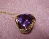 Vintage African Amethyst Solitaire Pendant, 6.80 Carat, Trillion Shape and Flawless,15MM x 15MM, 14K Yellow Gold with Gold Chain
