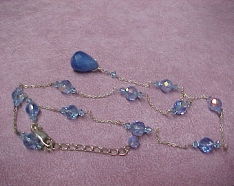 Vintage Faceted Blue Crystal Beads Necklace 19-3/4 long, 8mm and 4mm with Briolette, 18mm x 13mm.