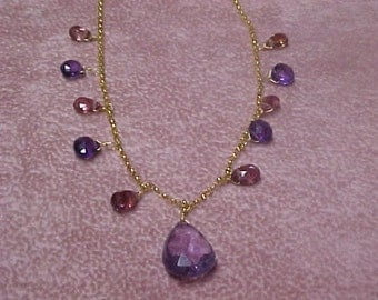 Vintage Multi-Gem Necklace, 16 Faceted Briolette Gems, 14K Yellow Gold Chain and Clasp