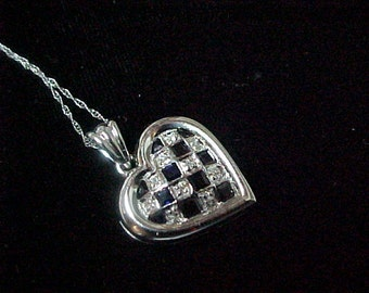 """Vintage Sapphire and Diamond Heart Pendant .22 Carat, 3.1 Gram, 14K White Gold, with 14K White Gold 18"""" Chain"""
