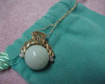 """Jadeite Ball Pendant, 23MM, with 2 small Diamonds, 14K Yellow Gold, with 14k 18"""" chain, 5.6 Gram"""