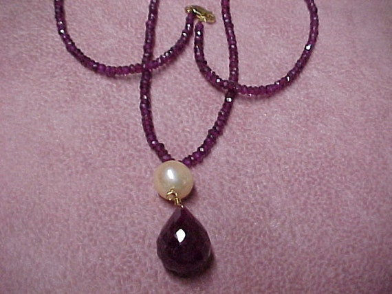 "Vintage Ruby Necklace 18"" of Faceted, 4MM Ruby Beads, with Cultured Pearl and Ruby Briolette Pendant, 14K Clasp"