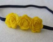 Navy and Yellow Baby Girls Headband - Felt Flower Girls Newborn Toddler Adult Headband