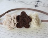 Brown Baby Headband - Felt Flowers Brown Oatmeal and Ivory