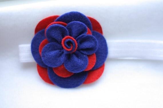 Felt Flower Baby Headband- Blue and Red