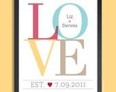 Valentines Gift, LOVE Print, Wedding Print, Personalized Anniversary Gift, Couples Wall Print, custom wedding gift