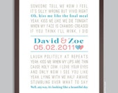Personalized Anniversary Gift, Song Lyrics, Wedding Gift, 1st Anniversary, Wall Print (custom song lyric art) 11x14, 12x18, 16x20