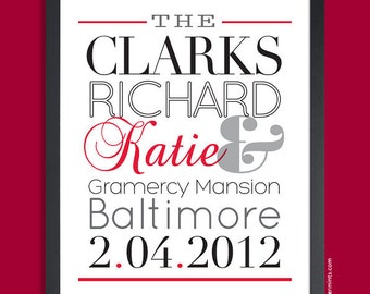 Unique Wedding Gift, Gift for Couple - Personalized Name Art Print (Black & Red), custom colors