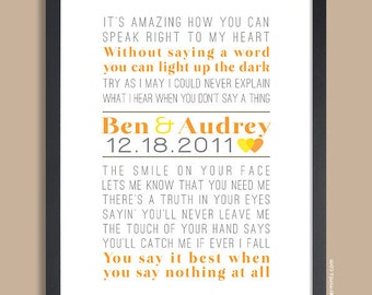 Unique Wedding Gift, Custom Wedding Song Print (song lyric art, wedding vows) in orange & gray, custom colors