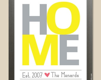 Housewarming Gift Idea HOME Personalized Wall Print Custom Family Print yellow and gray family name custom colors