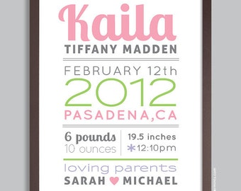 Personalized Baby Gift, New Baby Gift, Custom Birth Print, Nursery Wall Art Print (baby name and birth stats)