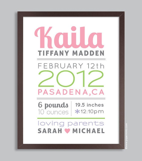 baby girl decor birth announcement poster nursery wall art. Black Bedroom Furniture Sets. Home Design Ideas
