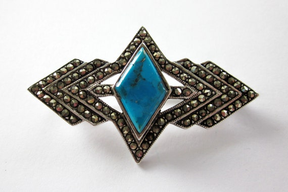 Vintage Art DECO or Revival Sterling Silver 925 TURQUOISE & MARCASITE Pin Brooch Geometric Design