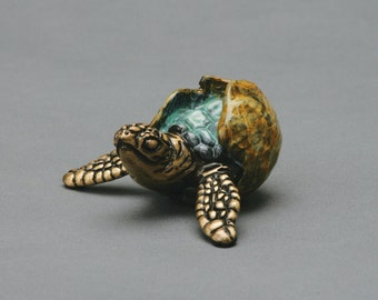 Itsy, a sea turtle hatchling, limited edition bronze sculpture