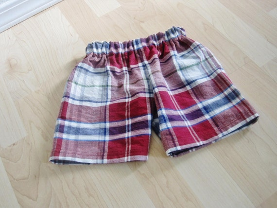 Toddler Plaid Shorts in Red, White and Blue