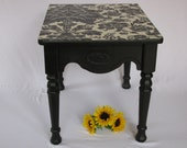 Damask Black and White Wallpaper Topped Side Table