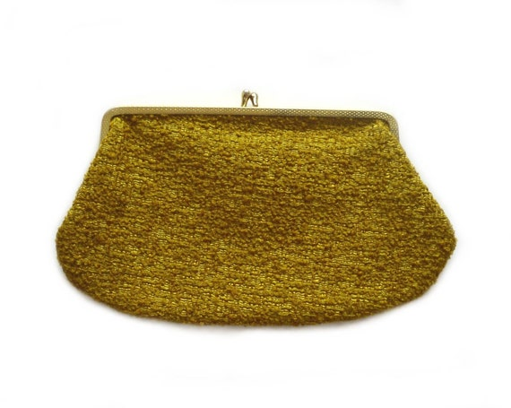 Vintage Gold Textured Clutch - Metal Clasp